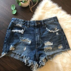 Zara Denim distressed shorts size 2